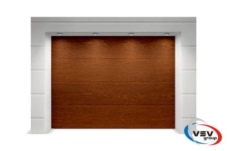 Гаражные ворота Classic 3500х2500 с сэндвич-панелью L-гофр в цвете тёмный дуб - фото - продукция компании ВСВ-Групп