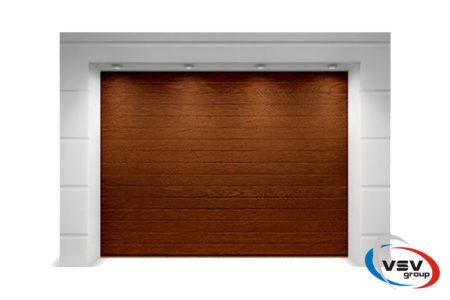 Секционные ворота Classic 2625х2500 с сэндвич-панелью S-гофр в цвете тёмный дуб - фото - продукция компании ВСВ-Групп