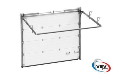 Ворота Trend з 4500х2500 сендвіч-панеллю фільонка кольору темний дуб - фото - продукция компании ВСВ-Групп
