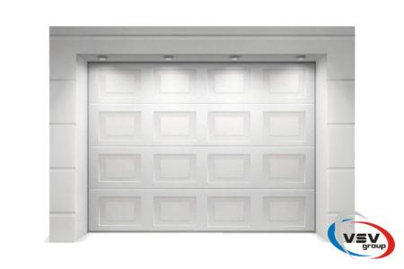 Секционные ворота Classic 4000х2250 с сэндвич-панелью филёнка в белом цвете - фото - продукция компании ВСВ-Групп