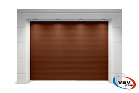 Гаражные ворота Classic 3750х2125 с сэндвич-панелью микроволна в коричневом цвете - фото - продукция компании ВСВ-Групп