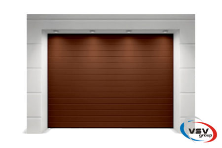 Секционные ворота Trend 2500х2250 с сэндвич-панелью S-гофр коричневого цвета - фото - продукция компании ВСВ-Групп