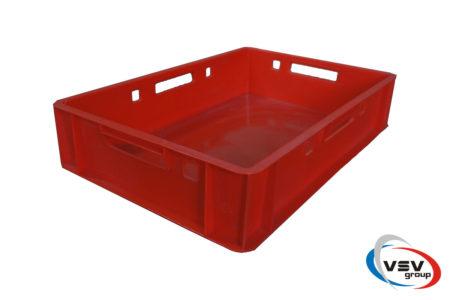 Пластиковый ящик сплошной 600x400x120 мм красный - фото - продукция компании ВСВ-Групп