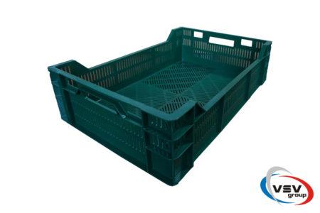 Ящик пластиковый перфорированный 600х400х160 мм зеленый - фото - продукция компании ВСВ-Групп