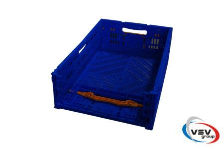 Ящик пластиковый складной с ручкой 600x400x175 мм синий - фото - продукция компании ВСВ-Групп