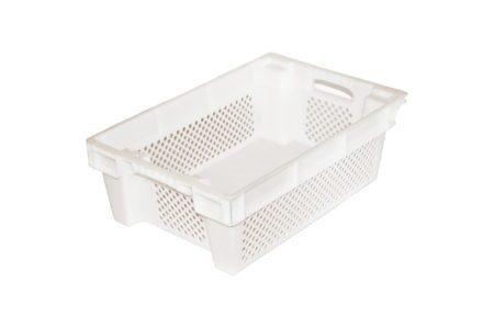 Ящик пластиковий конусний перфоровані стінки / тверде дно 600x400x200 мм білий - фото - продукция компании ВСВ-Групп