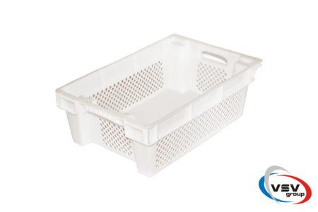 Ящик пластиковый конусный перфорированные стенки/твердое дно 600x400x200 мм белый - фото - продукция компании ВСВ-Групп