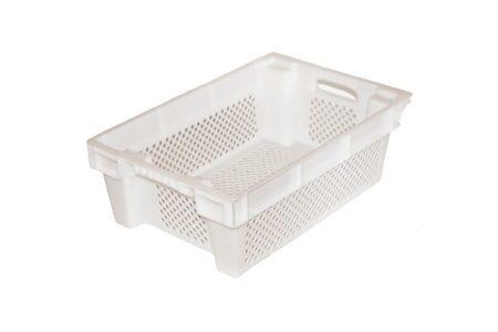 Ящик пластиковий конусний перфорований 600x400x200 мм білий - фото - продукция компании ВСВ-Групп