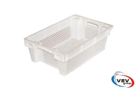 Ящик пластиковый конусный перфорированный 600x400x200 мм белый - фото - продукция компании ВСВ-Групп