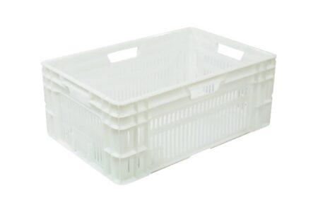 Ящик пластиковый штабелируемый перфорированный 600x400x230 мм белый - фото - продукция компании ВСВ-Групп