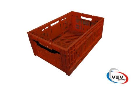 Ящик пластиковый складной с ручкой 600x400x240 мм оранжевый - фото - продукция компании ВСВ-Групп