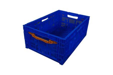 Ящик пластиковый складной с ручкой 600x400x240 мм синий - фото - продукция компании ВСВ-Групп
