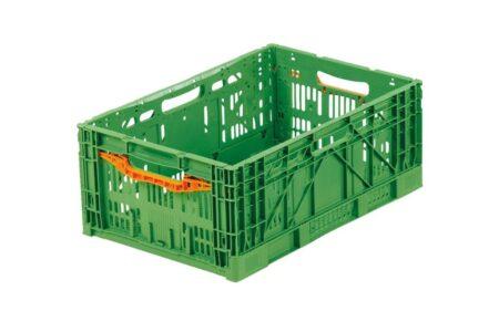 Ящик пластиковый складной с ручкой 600x400x240 мм зеленый - фото - продукция компании ВСВ-Групп