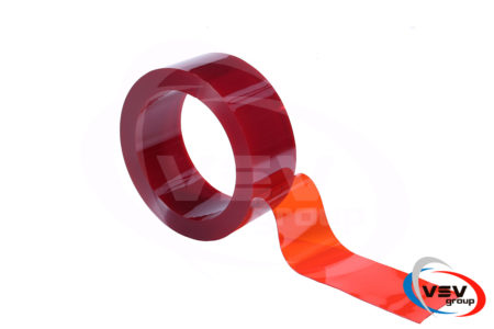 Прозрачная красная пвх лента для завес 200х2 мм 1 пог.м. - фото - продукция компании ВСВ-Групп