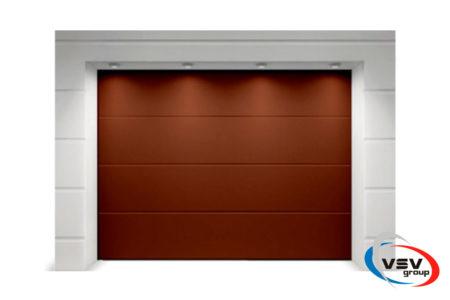 Секционные ворота в гараж Алютех Классик 2125х2125 мм L-гофр коричневого цвета - фото - продукция компании ВСВ-Групп