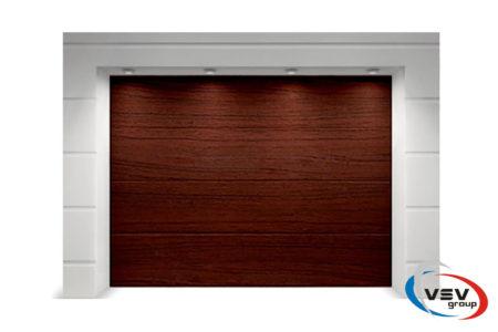 Ворота гаражные секционного типа Алютех Тренд 2375х2125 мм L-гофр вишня - фото - продукция компании ВСВ-Групп