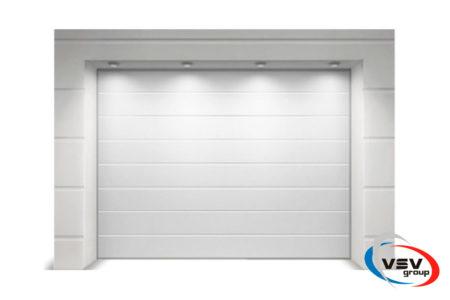 Гаражные ворота подъемные Алютех Классик 2125х2125 мм M-гофр цвет белый - фото - продукция компании ВСВ-Групп