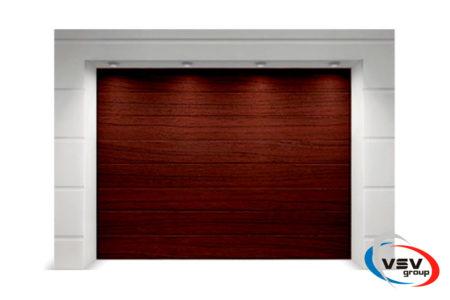 Секционные гаражные ворота Алютех Классик 2250х2125 M-гофр цвет вишня - фото - продукция компании ВСВ-Групп