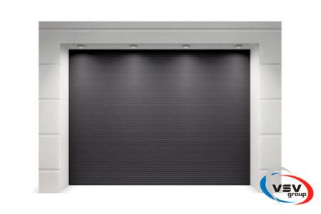 Секційні ворота гаражні Алютех Класик 2250х2250 мікрохвиля антрацит - фото - продукция компании ВСВ-Групп