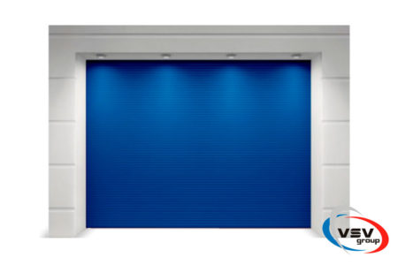 Гаражные ворота Алютех Тренд 2250х2125 микроволна синего цвета - фото - продукция компании ВСВ-Групп