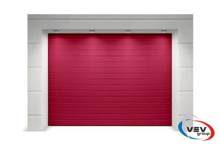 Ворота гаражні секційного типу Alutech Trend 2375х2000 мм S-гофр червоний - фото - продукция компании ВСВ-Групп