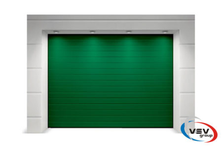 Ворота в гараж секционные Алютех серия Тренд 2375х2125 мм S-гофр зеленого цвета - фото - продукция компании ВСВ-Групп