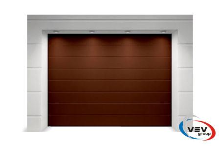 Ворота гаражные секционного типа Алютех Классик 2250х2125 мм M-гофр коричневого цвета - фото - продукция компании ВСВ-Групп