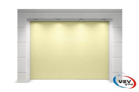 Гаражні секційні ворота Алютех Тренд 2625х2250 мм мікрохвиля в бежевому кольорі - фото - продукция компании ВСВ-Групп
