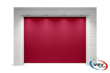 Ворота гаражные из сэндвич-панелей Алютех Классик 2250х2125 мм микроволна цвет красный - фото - продукция компании ВСВ-Групп
