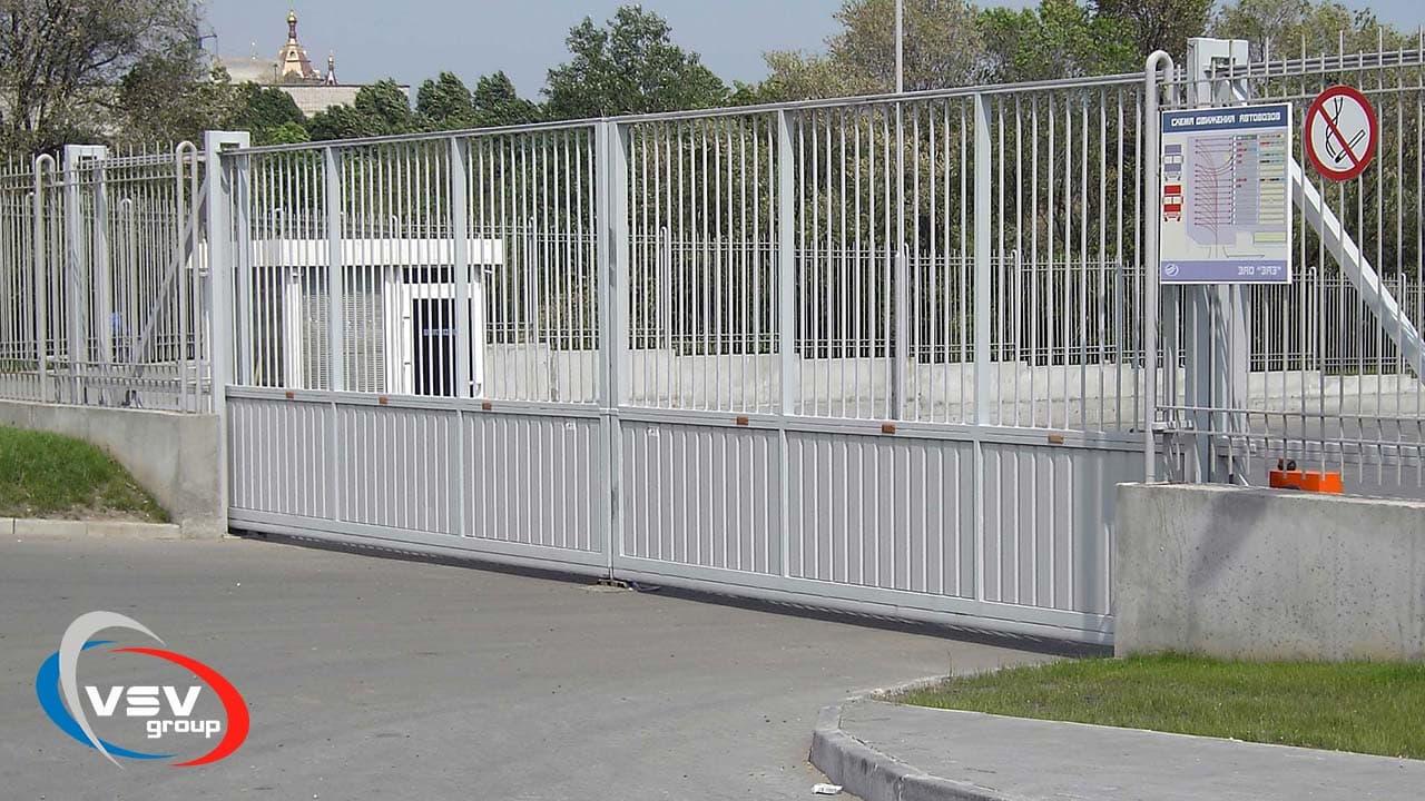 Автоматические откатные ворота для паркинга