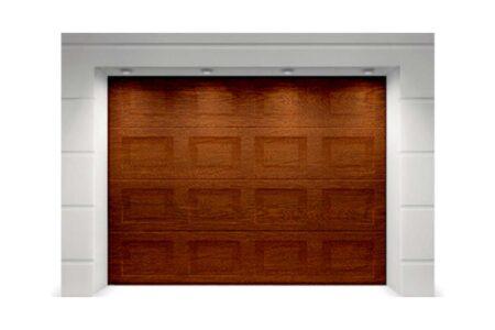 Секционные ворота Classic 2625х2375 с сэндвич-панелью филёнка в цвете тёмный дуб - фото - продукция компании ВСВ-Групп
