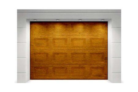 Підйомні секційні ворота для гаража Алютех Тренд 2110х2100 мм фільонка колір під дерево «золотий дуб» - фото - продукция компании ВСВ-Групп