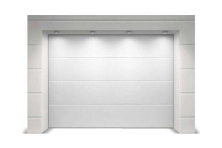 Гаражні ворота Алютех Класик 2125х2125 мм L-гофр в білому кольорі - фото - продукция компании ВСВ-Групп
