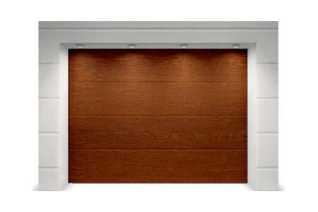 Гаражні ворота Classic 3500х2500 з сендвіч-панеллю L-гофр в кольорі темний дуб - фото - продукция компании ВСВ-Групп