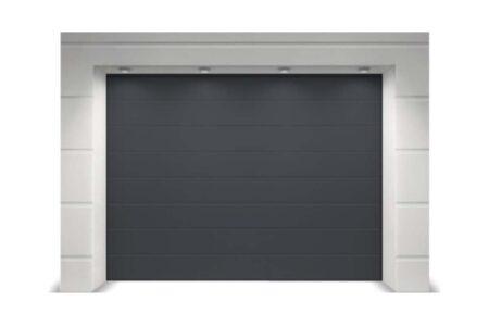 Гаражні ворота секційного типу Алютех Тренд 2250х2250 мм M-гофр антрацит - фото - продукция компании ВСВ-Групп