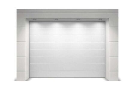 Ворота секционные для гаража с сэндвич-панелью  M-гофр серии Тренд в белого цвета - фото - продукция компании ВСВ-Групп