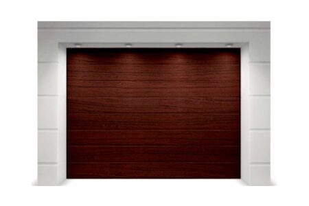 Секційні гаражні ворота Alutech Trend 2375х2125 мм M-гофр вишня cherry - фото - продукция компании ВСВ-Групп