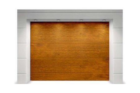 Гаражные ворота из сэндвич-панелей Alutech Classic 2250х2125 мм M-гофр цвет под дерево «золотой дуб» - фото - продукция компании ВСВ-Групп