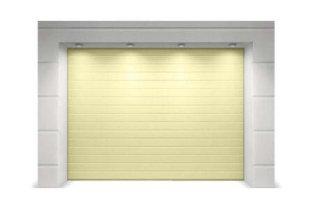 Гаражні ворота з сендвіч-панелей Алютех Класик 2250х2125 мм S-гофр колір бежевий - фото - продукция компании ВСВ-Групп