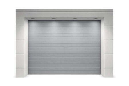 Гаражные ворота от Алютех бюджетная серия Тренд 2375х2125 мм S-гофр в цвете серебро - фото - продукция компании ВСВ-Групп