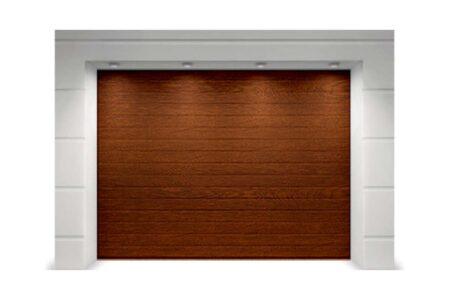 Секційні ворота Classic 2625х2500 з сендвіч-панеллю S-гофр в кольорі темний дуб - фото - продукция компании ВСВ-Групп