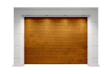 Секційні ворота Classic 2625х2750 з сендвіч-панеллю S-гофр в кольорі золотий дуб - фото - продукция компании ВСВ-Групп