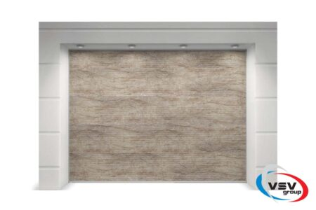 Гаражні ворота Prestige мікрохвиля 2750х2125 з цифровим друком під натуральний мармур - фото - продукция компании ВСВ-Групп