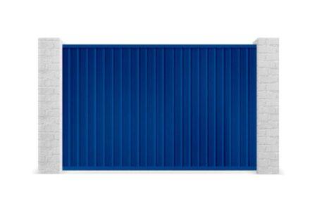 Відкатні ворота з профнастилу 3000х2000 з вбудованою хвірткою сині - фото - продукция компании ВСВ-Групп