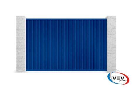 Откатные ворота из профлиста 3000х2000 с встроенной калиткой синие - фото - продукция компании ВСВ-Групп