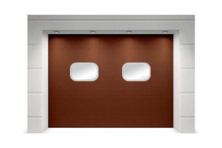 Секционные ворота ProTrend 4000х5125 с полотном микроволна в коричневом цвете - фото - продукция компании ВСВ-Групп