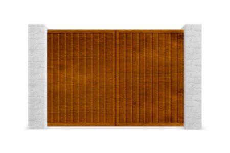 Распашные ворота из профнастила 3000х2000 с встроенной калиткой золотой дуб - фото - продукция компании ВСВ-Групп