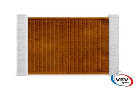 Розсувні ворота з профнастилу 3000х2000 з вбудованою хвірткою золотий дуб - фото - продукция компании ВСВ-Групп