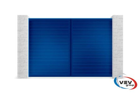 Алюминиевые распашные ворота с заполнением сэндвич-пенелями S-гофр 3000х1460 - фото - продукция компании ВСВ-Групп