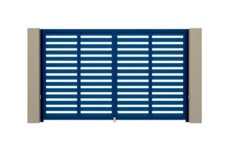 Распашные ворота Prestige 2750х1585 с алюминиевым заполнением в синем цвете - фото - продукция компании ВСВ-Групп